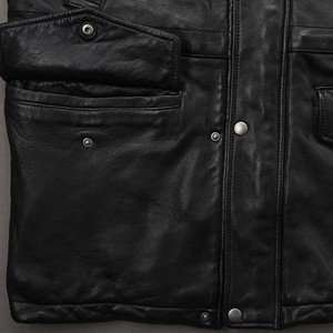 Image 5 - Italy Vintage Men Long Sheepskin Natural Leather Jacket Winter Real Leather Moto Biker Coat Top Brand Mult Pocket Hunting Jacket