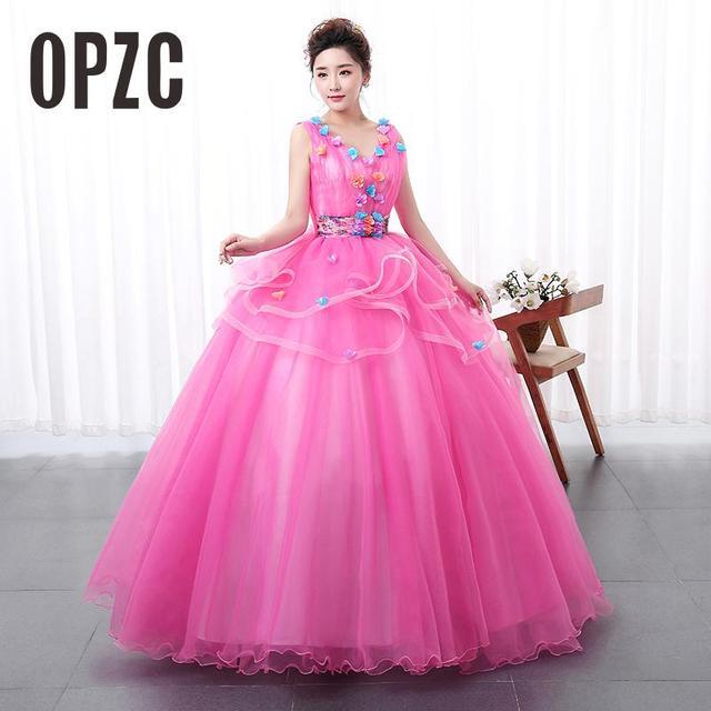 New Style Color Yarn V Neck Wedding dress 2017 Pink Princess Female Art  Exam Gowns Part Dress Vestidos De Novia 4e6071d21aa4