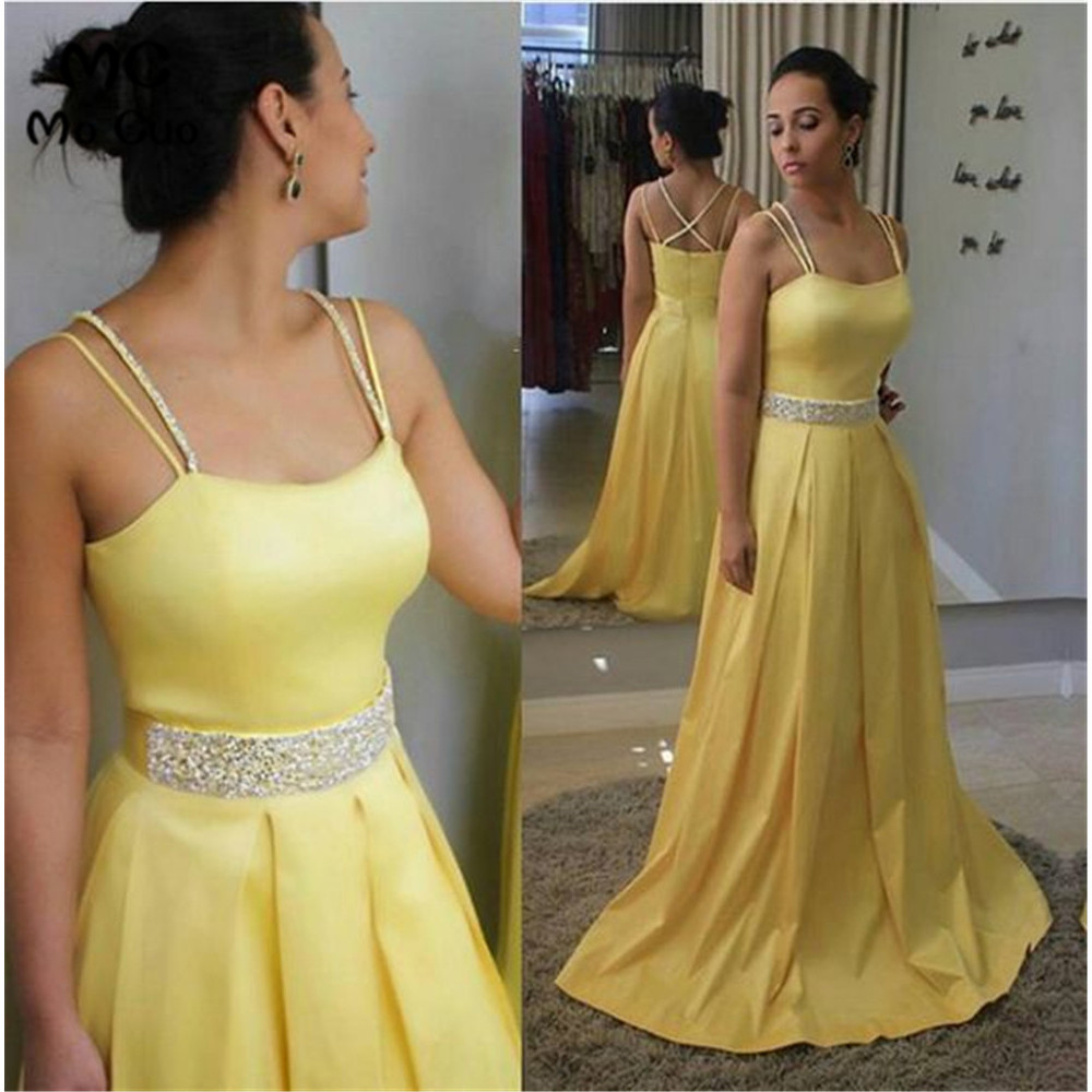 Elegant 2019 Yellow   Evening     Dresses   Long with Pockets Beaded Satin Formal   Evening   Party   Dress   for Women Custom Made