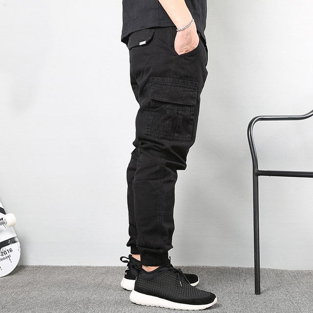 Japanese Vintage Fashion Men Jeans Loose Fit Big Pockets Casual Cargo Pants Harem Trousers Streetwear Hip Hop Joggers Pants Men 2
