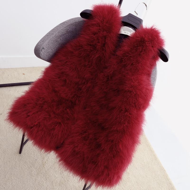 Длинный жилет из натурального меха ручной вязки из натурального страусиного пера, меховой жилет высокого качества из натурального пушистого меха, жилет темно-серого цвета