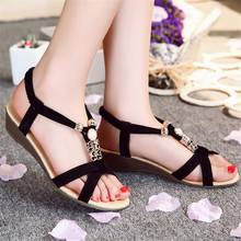 Women's Fashion Sweet Beaded Flats Clip Toe Flats Bohemian Herringbone High Help Sandals Beach Shoes famale Casual Buckle Shoes