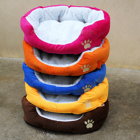 Soft Cotton Cute Dog Cat Bed Comfortable Footprints Print Pet Dog Warm Sleeping Bed Goods For Pets