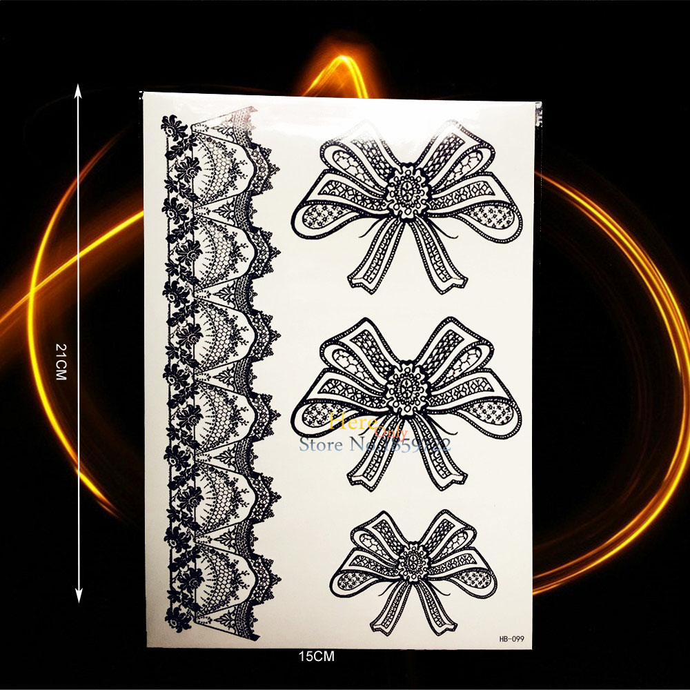 1PC Sexy Women Makeup Bowknot Pattern Black Temporary Tattoo Lace Designs HHB-099 Fashion Legs Decor Waterproof Tattoo Henna Bow