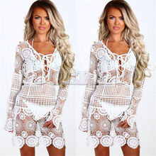 High Quality Women Bathing Suit Lace Crochet Floral Cover Up Lady 2019 Summer Beach Dress