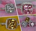 Виктория вик изумрудный cut 3ct розовый сапфир / топаз имитация алмазный стерлингового серебра 925 участие обручальное кольцо размер 5 - 11