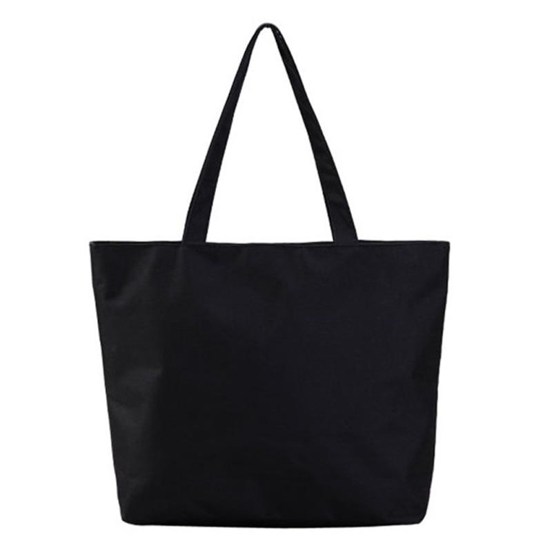 Moda casual personalizable liso bolso de las mujeres de alta calidad de lona ocasional Tote gran capacidad en blanco negro blanco bolsas de compras