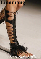 Summer Women Boots Fashion Cross tied Fringe Design Black Flat With Hollow WOmen Shoes Knee High Boots