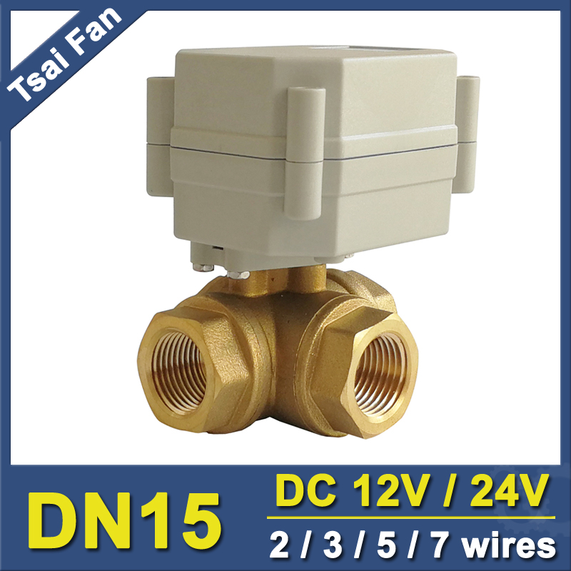 TF15-BH3-A DC12V DC24V 2/3/5/7 Wires 3 Way T/L Type Brass 1/2'' DN15 Horizontal Electric Ball Valve For Water Control System