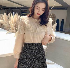Image 4 - Dingaozlz موضة بلوزات من الدانتيل طويلة الأكمام أنيقة الإناث الدانتيل خياطة بلوزة غير رسمية 2019 جديد الكورية المرأة قميص
