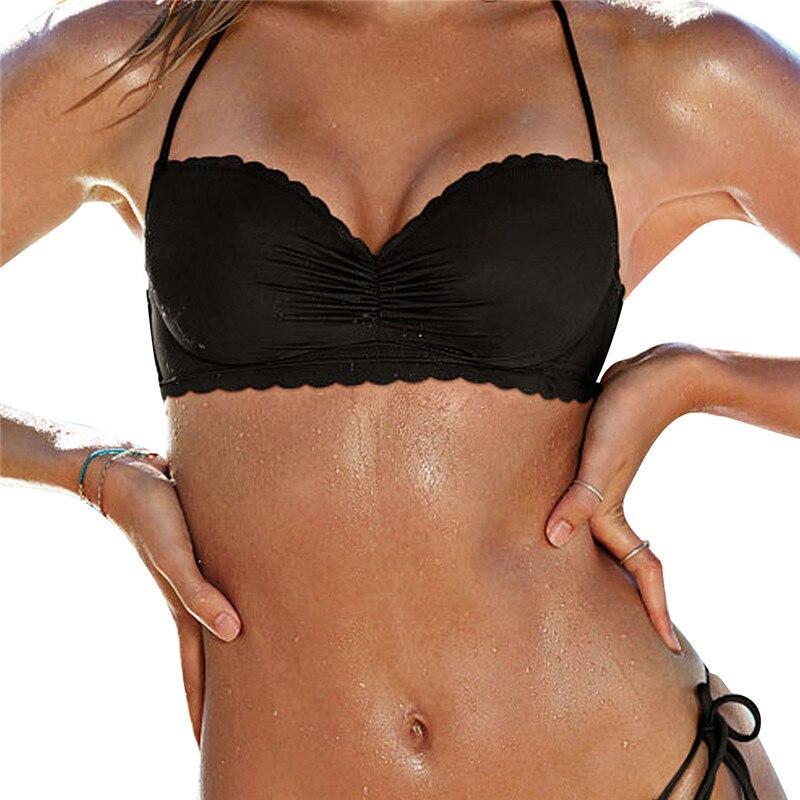 M&M 2017 Sexy Halter Bikinis Top Push Up Padded Summer Swimwear Print Swimsuit Solid Beachwear Sport Bandage Bathing Suit T604