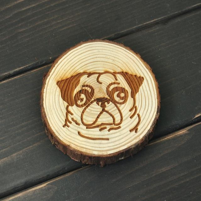Aliexpresscom Buy Pug Dog Coaster Rustic Wooden Coasters Tree