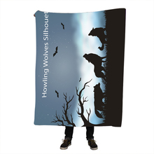 Halloween Throw Blanket Sherpa Fleece for Bed Sofa Wolf And The New Moon Plaid Bedspread manta