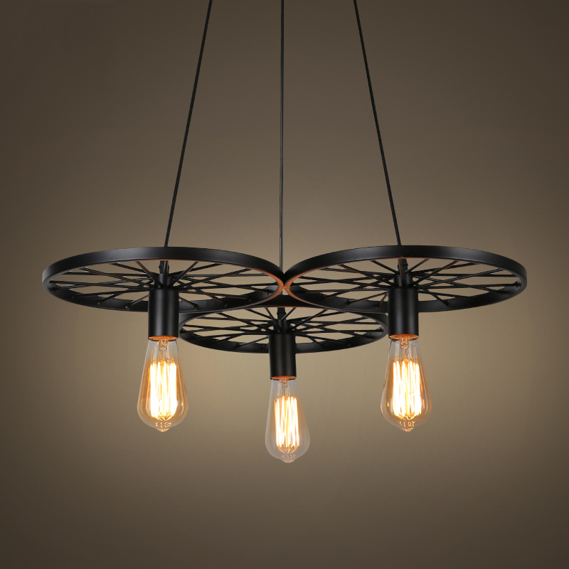 Vintage creative E27 wheel chandelier retro loft headlight dining room bedroom bar club pub office cafe lights pendant lamp retro cafe bar long spider lamp loft light industrial creative office the heavenly maids scatter blossoms chandelier
