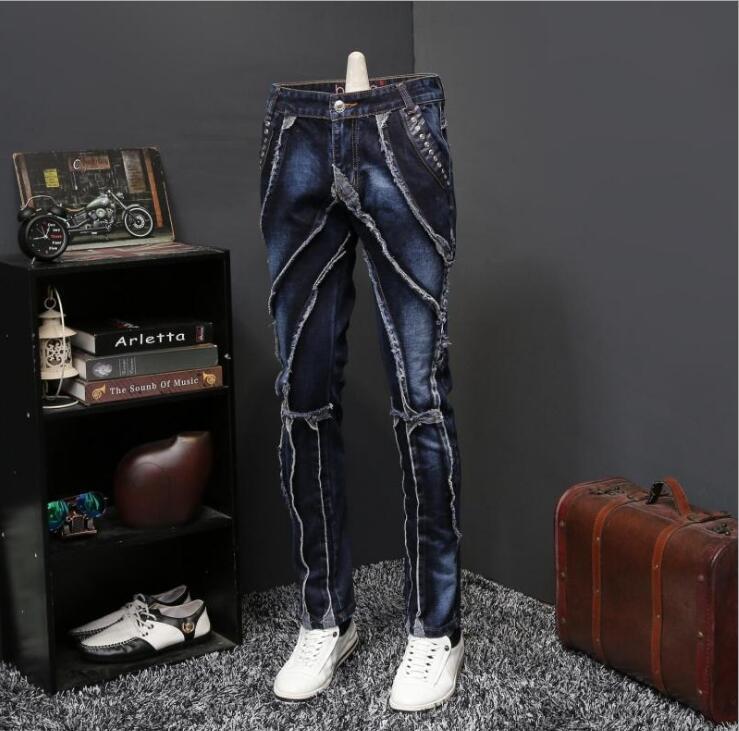 2018 automne nouveau jeans homme style européen et américain jeunesse mode personnalité Slim droit long pantalon couture carte de marée;-