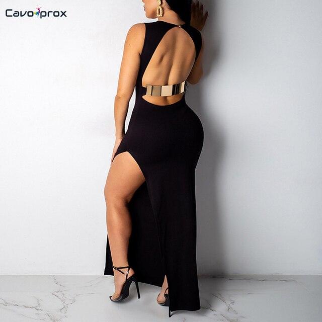 Women O-neck Side Slit Backless Bodycon Party Dress Sexy & Club Sheath Solid Sleeveless Ankle-Length Slim Fit Vestidos Dress