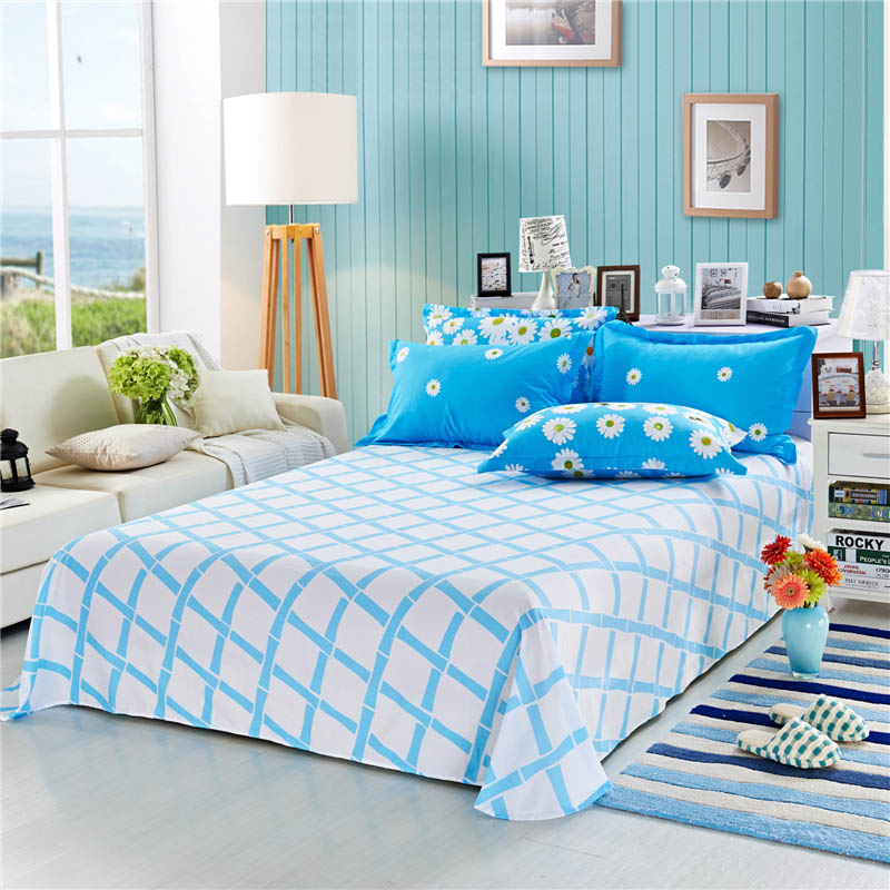 100 cotton printed flat bed sheet queen size 230x250cm bedding twin sheets for adults one piece. Black Bedroom Furniture Sets. Home Design Ideas