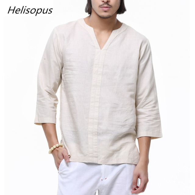 a1ae373e5067 Helisopus Chinese Style Linen Shirt Men Casual Breathable V-neck Long Sleeve  Soft Three Quarters