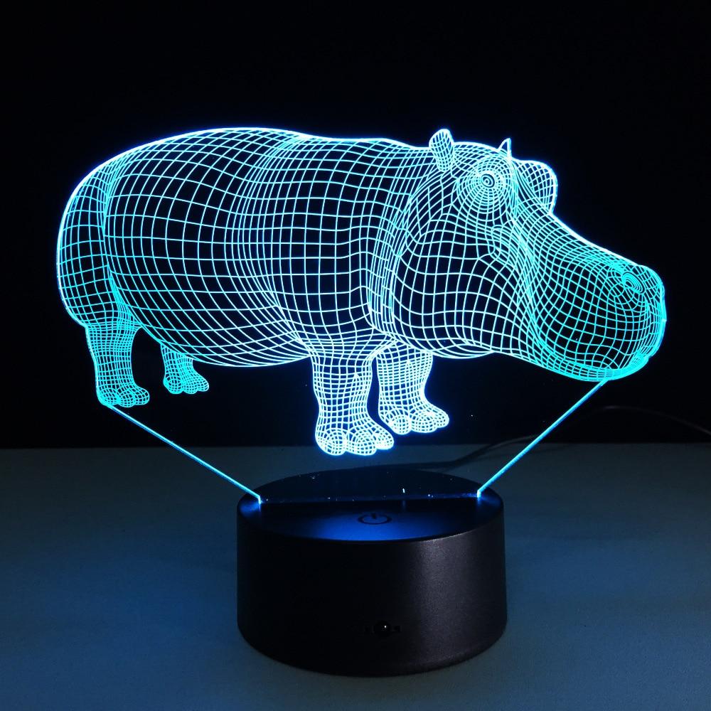 3D светодиодный Ночные огни Бегемот с 7 цветов свет для украшения дома лампы удивительный визуализации Оптические иллюзии удивительный пода...