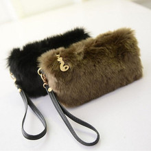 Women's Purse Wallet Fashion Women Winter Plush Faux fur Furry Clutch Handbags Wallet Coin Purse