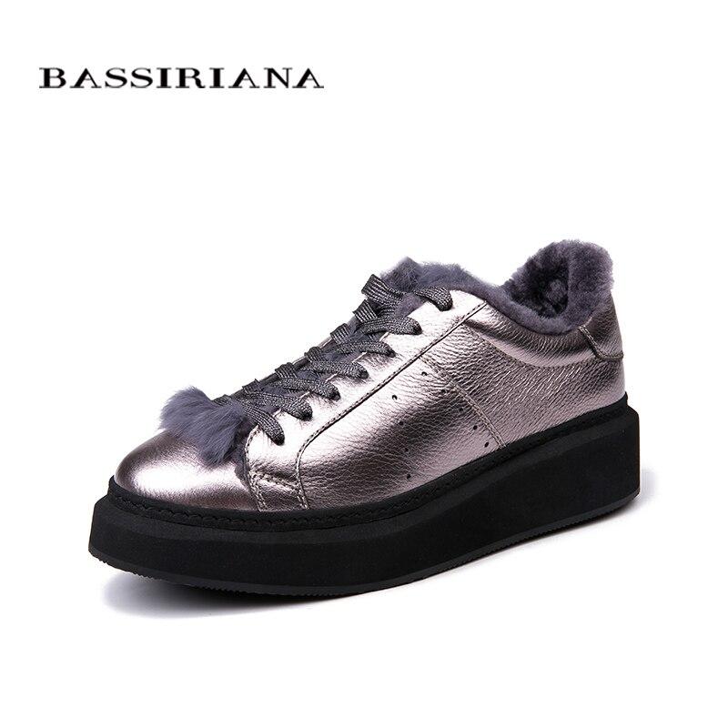 BASSIRIANA-2018 Nouveau Hiver Femme Chaussures En Peluche Dame de Tendance Coton-rembourré Chaussures Argent et Noir Taille 35 -40 livraison gratuite
