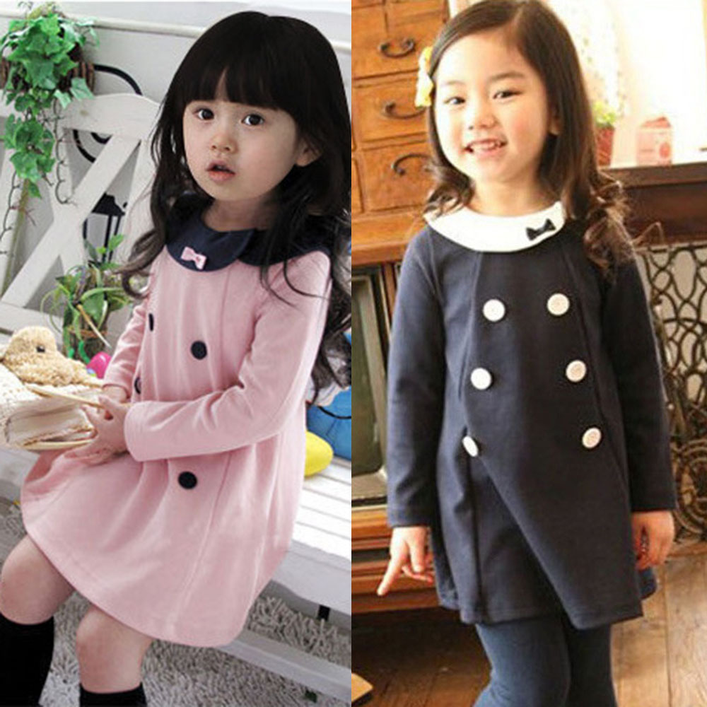 Baby Kids Girls Party Dress Long Sleeve One-Piece Dress Tops Clothes For 2-7 Years new hot 2 7y baby kid girls clothes long sleeve cartoon tops party princess dress