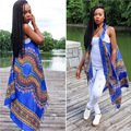 African Blue Woman Long Cardigans Summer 2016 Dashiki Print Fabric Cardigans Jackets Vest Waistcoat Plus Size African Clothing