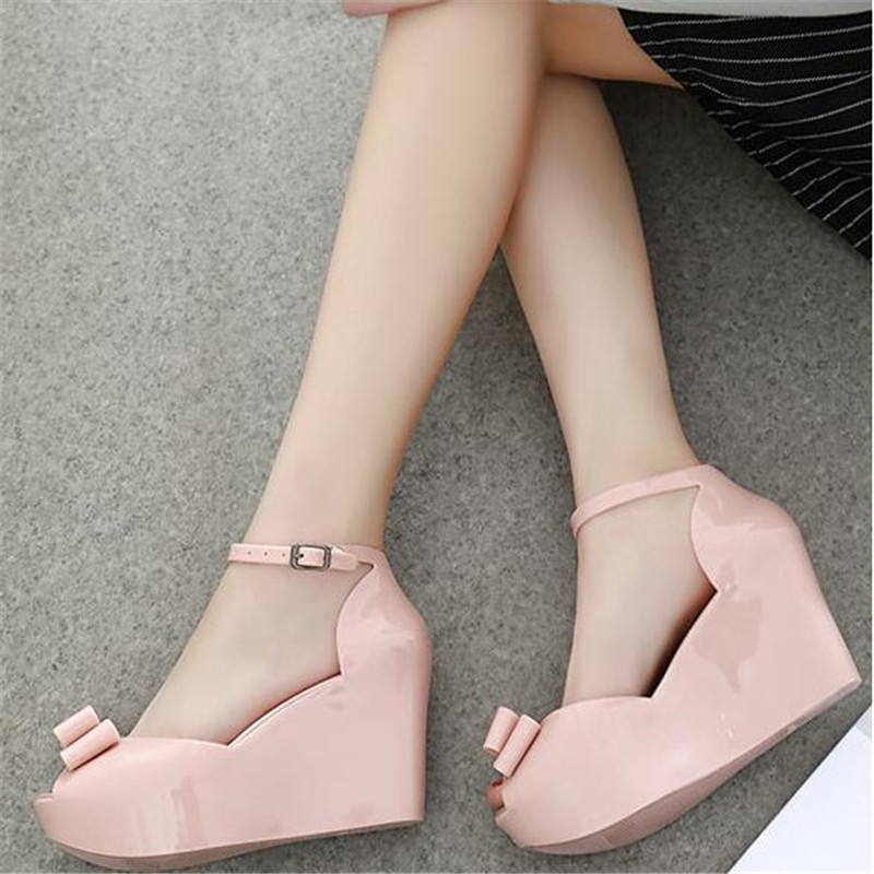 cb5e85bb6c9 Summer New pattern fashion Slope heel Wedges female sandals jelly shoes bow  platform open toe high heeled shoes-in Women s Pumps from Shoes on ...