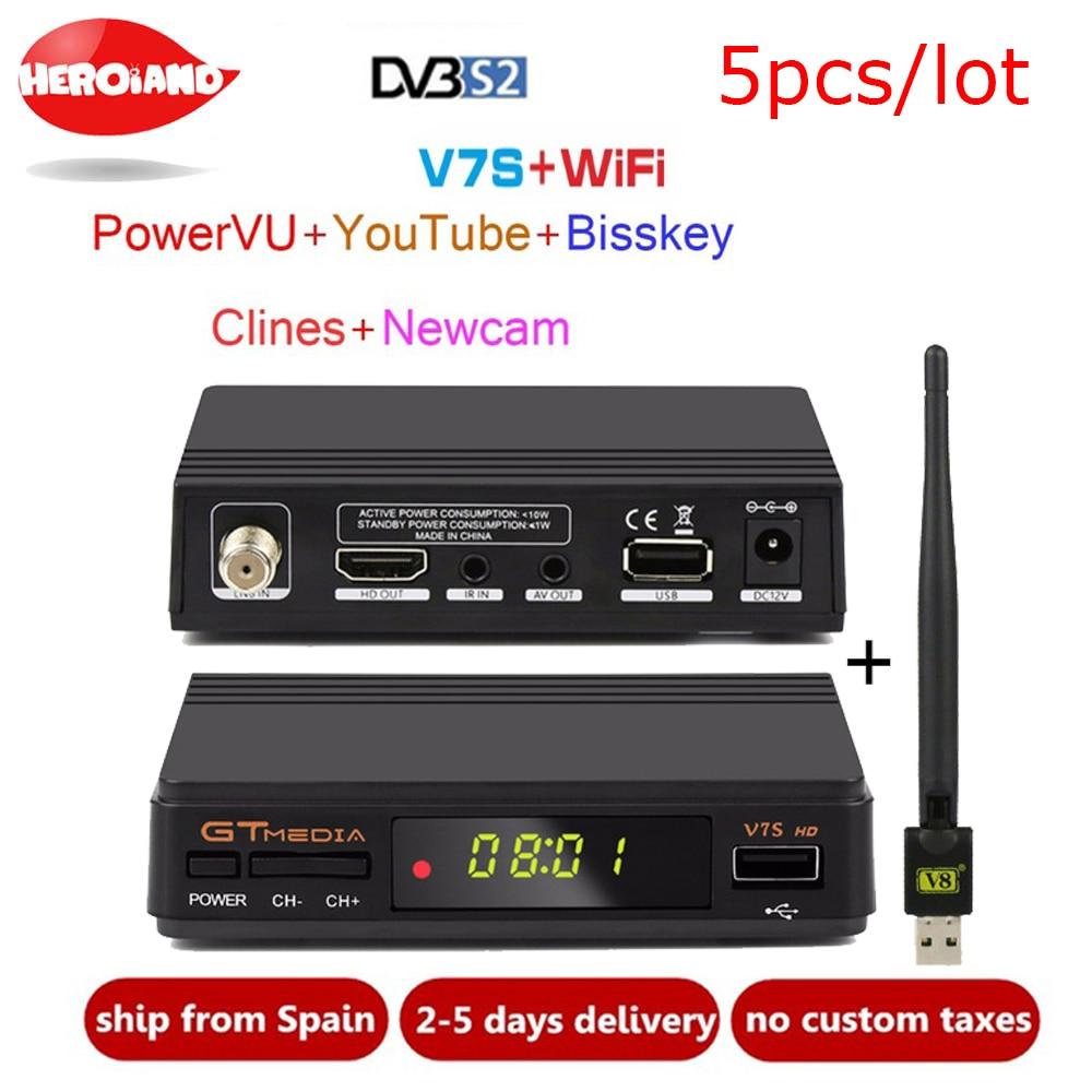 5pcs Freesat V7S HD DVB-S2 Satellite Receiver Full 1080P HD Receptor Support Cline PowerVu YouTube Biss key Set Top Box PK V7 HD hellobox gsky v7 5pcs hd powervu autoroll iks ccam dvb s2 receiver tv box better than freesat support tandberg patch