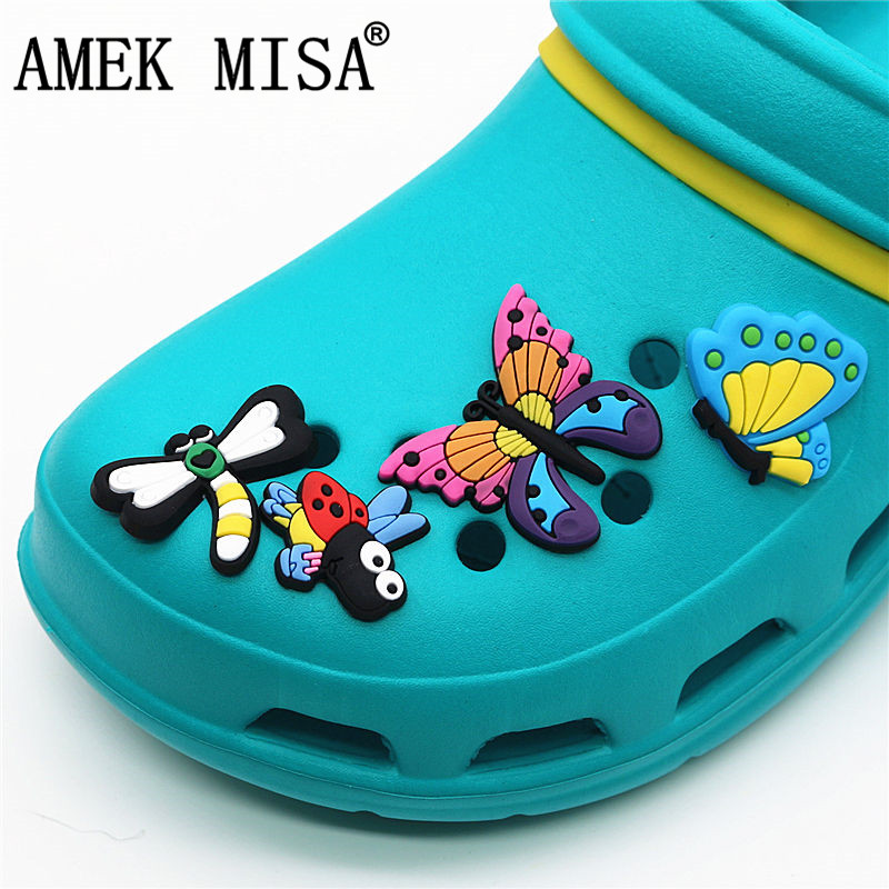 9 Pcs A Set PVC Insect Shoe Buckles Accessories Charm Beautiful Butterfly Dragonfly Bee Garden Shoe Croc Decorations Fit JIBZ