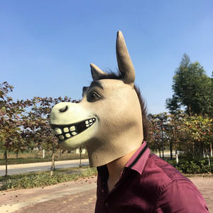 Image 3 - Shrek The Third Funny Donkey Mask Animal Latex Full Face Adult Cosplay Costume Mr Silly Donkey Masks Prop Halloween Party Men