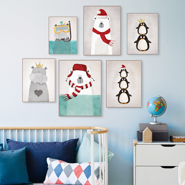 Triptych modern nordic kawaii animals bear hippo penguins poster print wall art picture canvas painting kids