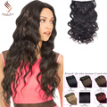 9A 100% Brazilian Virgin Remy Clip In Hair Extensions 710 pcsset Full Head Natural Brown Body Wave Clip in Human Hair Extension