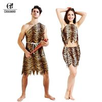 ROLECOS Brand New Adult Women And Men Halloween Cosplay Costumes Aboriginal Leopard African Primitive Savage Cosplay