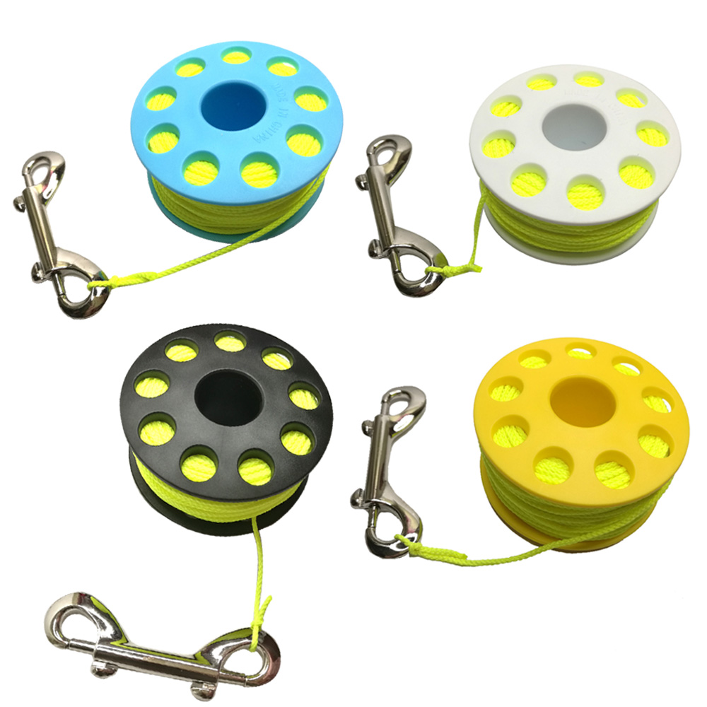 30m Scuba Diving Wreck Reel With Brass Double Ended Snap Clip Cave Finger Spool Wreck Guide Line Reel