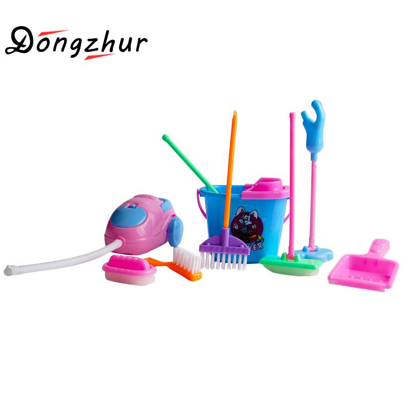 Dongzhur 9pcs/set Simulation Cleaning Toys Children Play House Games Tool Doll Kitchen Cleaning Kit Realistic Home Production