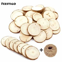 Feestigo 30PCS/Lot DIY Natural Round Wood Slices Tree Bark For Craft Christmas New Year Decorations Home Hanging Ornaments
