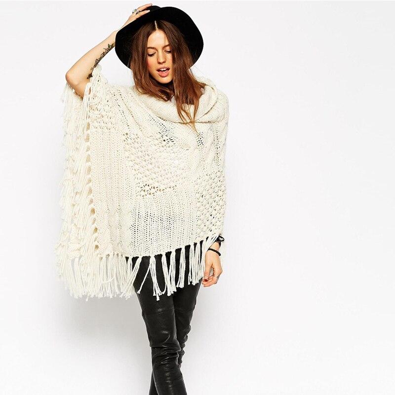 2015 nuevo invierno Poncho mujeres suéteres largos de cuello alto ...