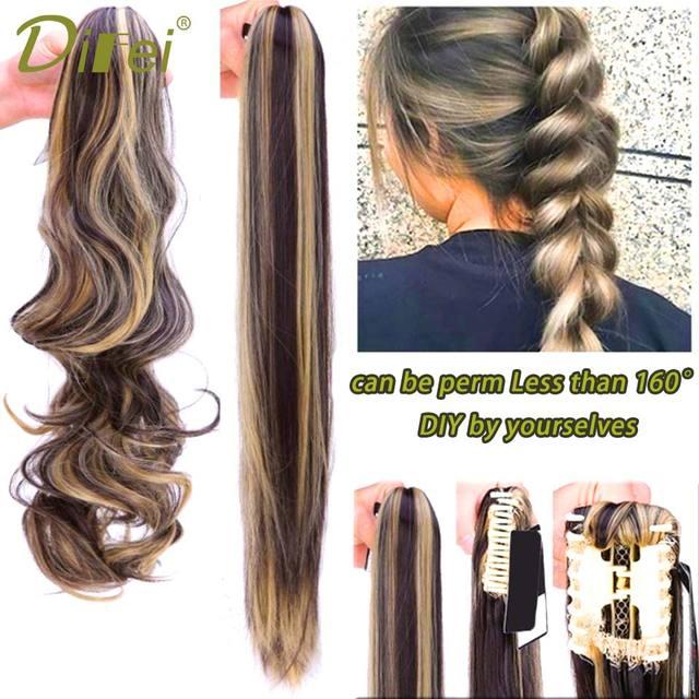 b31b4fda169 DIFEI 24'' Long Black Synthetic Ponytail DIY by you Long Hair ...