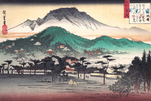 portrait poster scenery canvas painting landscape picture Japanese traditional art Evening Bell at Mii Temple  By Ando Hiroshige hiroshige