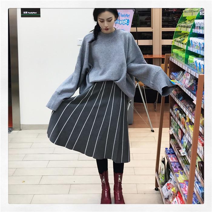HTB1kjBMOVXXXXbyXVXXq6xXFXXXP - FREE SHIPPING Womens Skirt Vintage  Line Striped Slim High Waist Knitted Long Black Grey JKP248