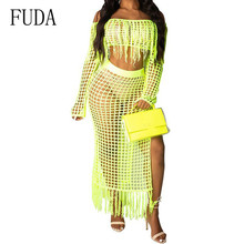FUDA Women Two Pieces Sets Sexy Off Shoulder Long Sleeve Tassel Dress Elegant Hollow Out Crochet Knitted Beach See Though Wear