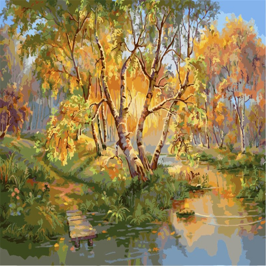 ᗔTree Painting By Numbers DIY River Landscape Wall Pictures ...