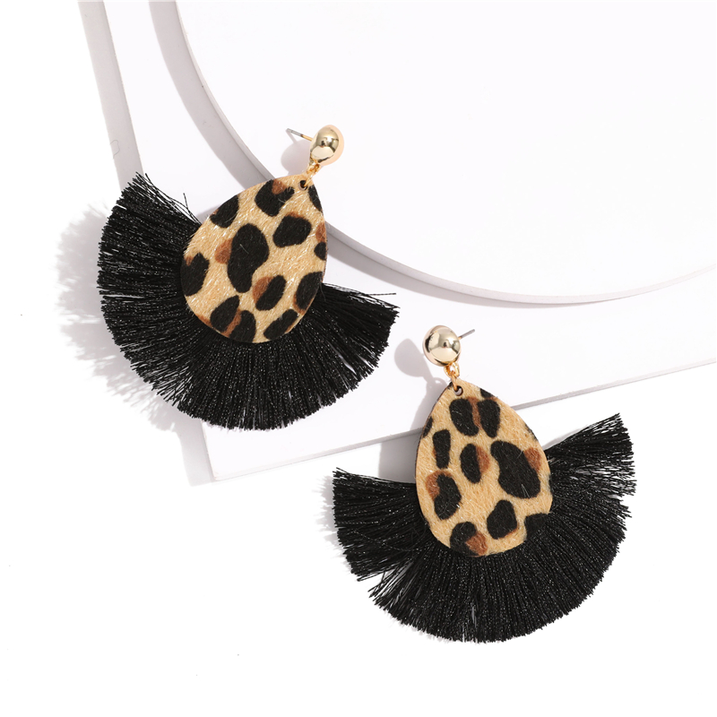 Bohemia Leopard Dangle Drop Earrings Biscuits Round Resin Cheetah Tassel Earrings for Women sector Jewelry Pendientes oorbellen 2