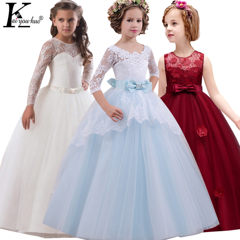 2018 Summer Dresses Blue Princess Girls Dress Elegant Party Tutu Kids Dresses For Girls Costume Lace Maxi Wedding Dress Vestidos high quality women pleated summer dress 2017 new runway designer vintage elegant green lace bird embroidery maxi party dresses