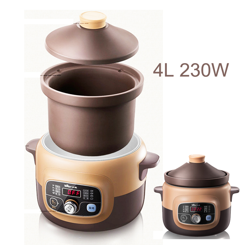 15%ja17 Microcomputer 12h Reservation Timing Electric Slow Cooker 4l 230w Redware Anti-overflow Mute Porridge Pot For 6people