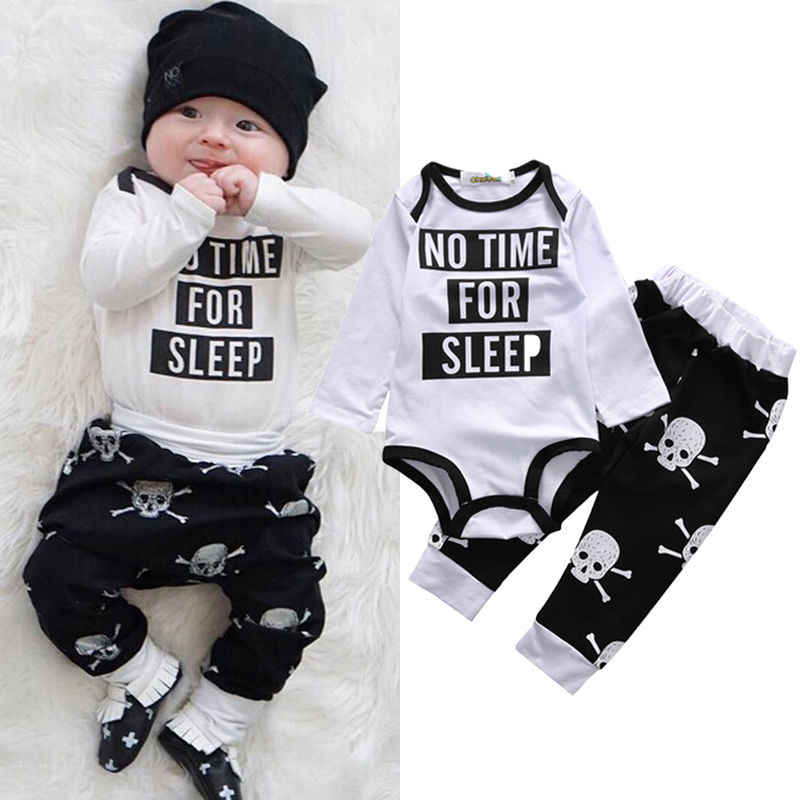 7aff945fc 2 Pcs Babies Clothing Set Newborn Baby Kids Girl Boy Outfit Infant New Kid  Bodysuit Onesie+Skull Pants Xmas Outfits Clothing Set