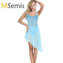 Lady Women Ballet Dress Spaghetti Straps Halter Sequins Irregular Tulle Ballet Dance Gymnastics Leotard Dress Leotards for Women