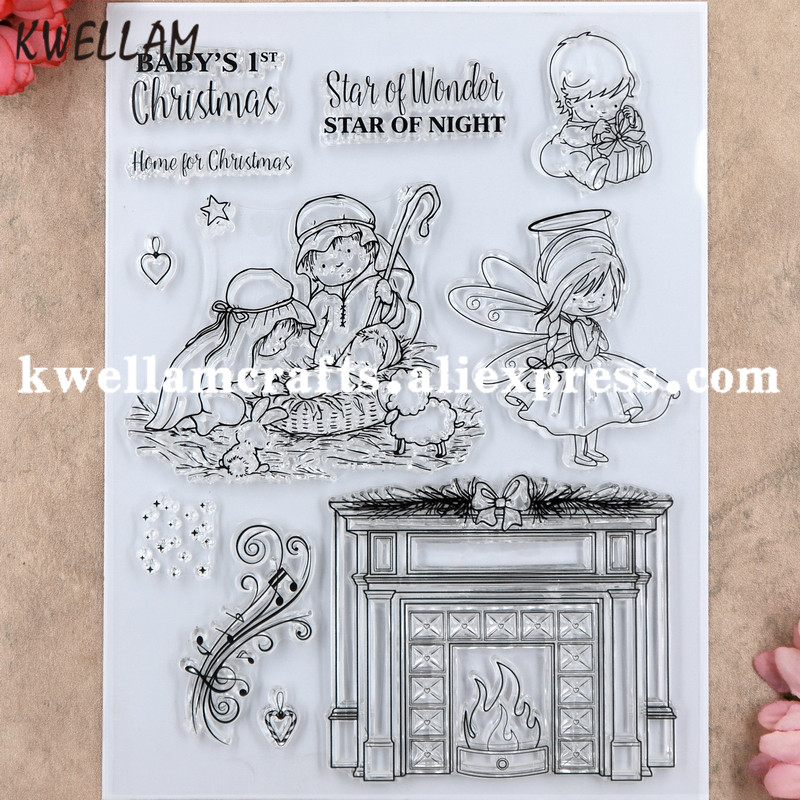Christmas BABY Fireplace Boy Girl STAR Scrapbook DIY photo cards rubber stamp clear stamp transparent stamp 16x20.5cm KW8091118