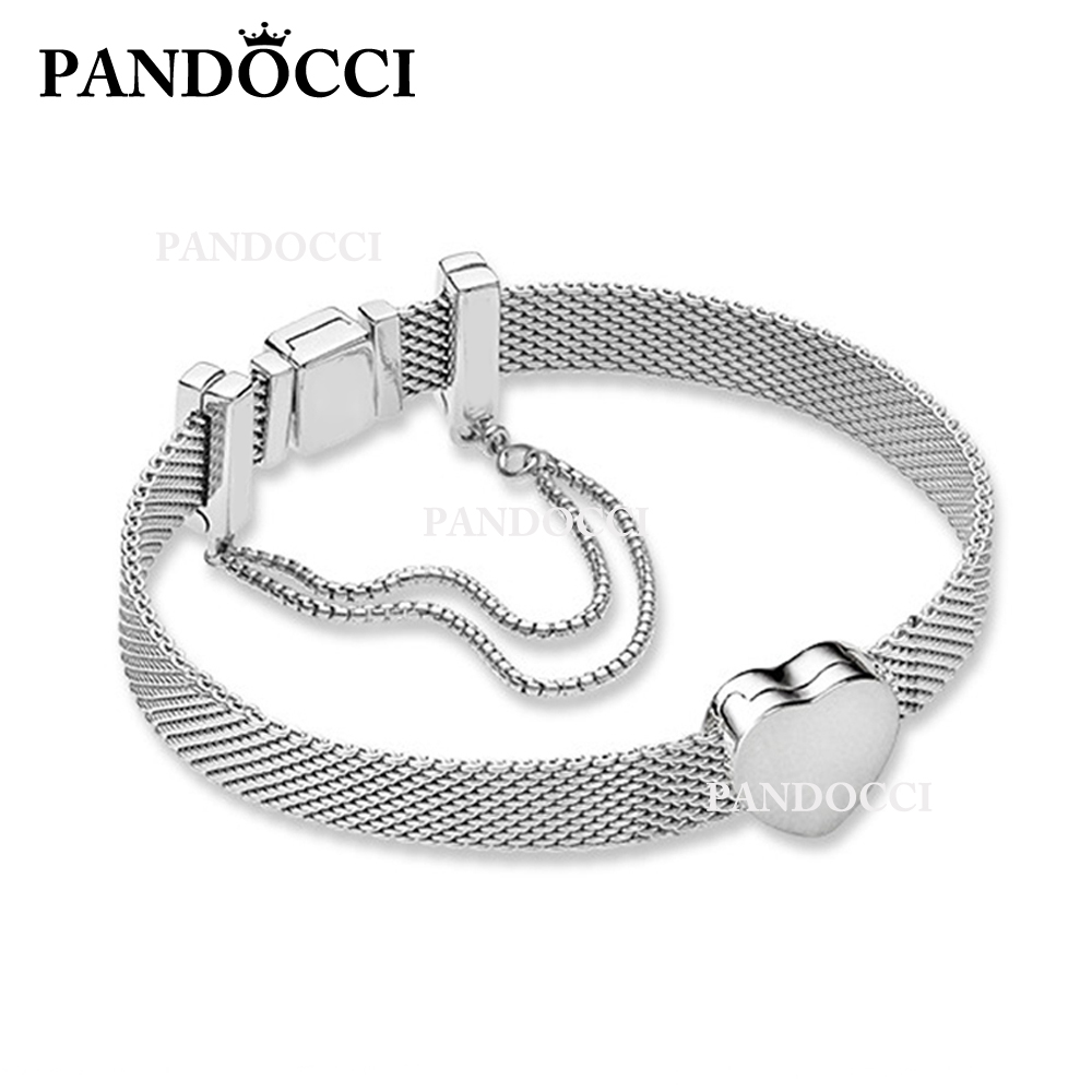 PANDOCCI 100% 925 Sterling Silver B800956 Bracelet Set 797620 Reflexions Heart Clip Charm 797601 Reflexions Safety Chain SetPANDOCCI 100% 925 Sterling Silver B800956 Bracelet Set 797620 Reflexions Heart Clip Charm 797601 Reflexions Safety Chain Set